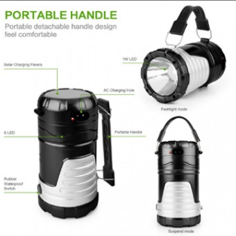 Multifunction Telescopic Camping or Emergency Rechargeable LED Flashlight and Lantern with USB Mobile Phone Recharge Facility.